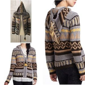 Sparrow Fringe FairIsle Hooded Knit Zip Cardigan